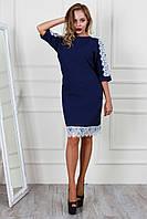 Нарядное синее платье с белым кружевом