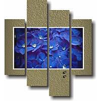 Вертикальная модульная картина ФИАЛКИ из 4 фрагментов