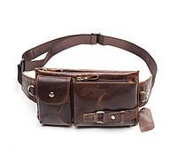 Кожаная сумка на пояс Marrant   коричневая