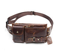 Кожаная сумка на пояс Marrant | коричневая, фото 1
