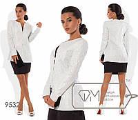 Жаккардовый пиджак длинный, белый 9532 фм