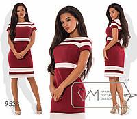 """Повседневное платье, вставки """"Полоски розовые"""", бордовое 9538 фм"""