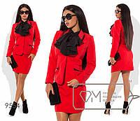 Костюм строгий: пиджак с лацканами + короткая юбка, красный 9554 фм