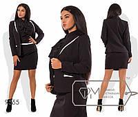 Костюм строгий: пиджак с лацканами + короткая юбка, черный 9555 фм