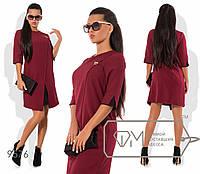 Платье с эффектом двуслойности и цветной отделкой, бордовое 9576 фм