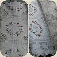 Льняная скатерть ажурная, ручная вышивка лентами, 140х180 см., 595/550 (цена за 1 шт. + 45 гр.)