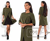 Платье с эффектом двуслойности и цветной отделкой, хаки 9578 фм
