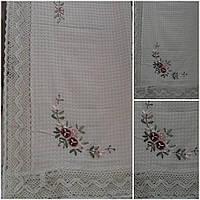 Скатерть из льна с ленточной вышивкой, вафелька, 150х220 см., 360/310 (цена за 1 шт. + 50 гр.)