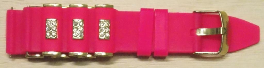 Ремешок каучук Рельефный (Польша) 20 мм. Стразы Малиновый