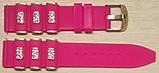 Ремешок каучук Рельефный (Польша) 20 мм. Стразы Малиновый, фото 3