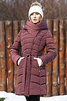 Стильное женское бордовое пальто-пуховик