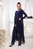 Женское теплое платье из ангоры c гипюром Размеры 42-54. Различные цвета.
