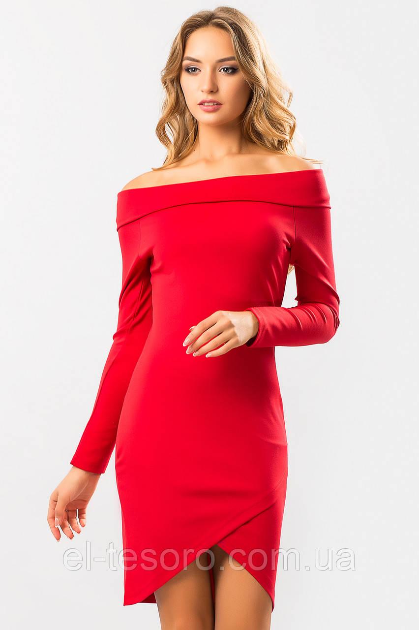 Красное платье-хомут с запахом