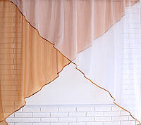Кухонная занавесь №53 Цвет кофейный с белым