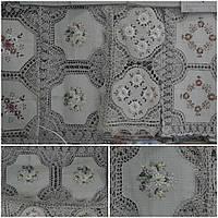 Льняная скатерть с вязкой и вышивкой лентами, ручная работа, 85х85 см., 300/250(цена за 1 шт. + 50 гр.)