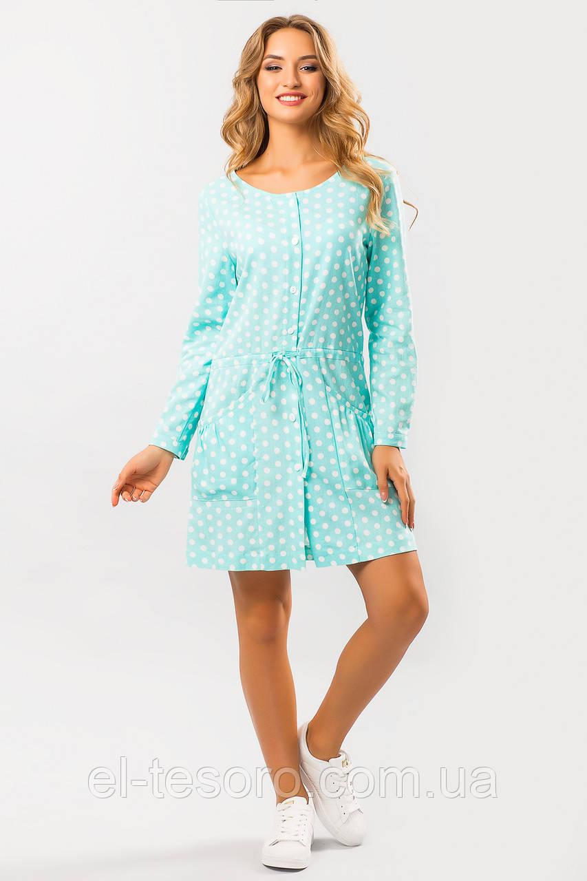 Льняное платье Горох на мятном