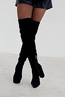 Ботфорты женские на каблуке зимние 1795 замш/байка