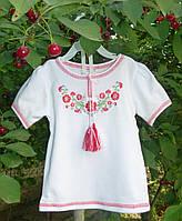 """Вышиванка для девочки """"Красные фиалки"""" с коротким рукавом на рост 80-140 см (трикотаж)"""