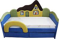 Детская кроватка с матрасом Домик 160 для мальчика