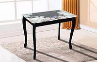 Стол обеденный Смарт со стеклом (чёрный/цветы) коллекция Смарт Новинка
