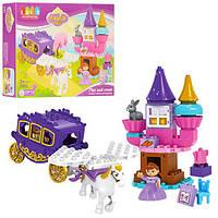 Конструктор JDLT 5282  замок принцессы, карета с лошадью, фигурка, 55дет