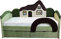 Детская кровать с бортиком Домик + матрас