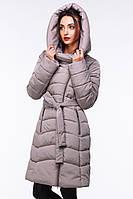 Серое пальто-пуховик женское на зиму