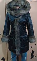 Пуховик пальто с мехом Енот 25295 черный 52р