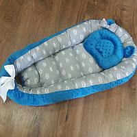 Синий кокон-гнездышко двустороннее + ортопедическая подушка