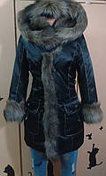 Пуховик пальто с мехом Енот 25295 черный 54р