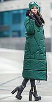 Зимний пуховик удлиненный с воротом-довяз
