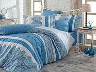 Постельное белье Hobby поплин Lisa голубое Двуспальный евро комплект