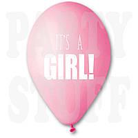 Надувные шары для новорожденных It's a girl розовые 12' (30 см) 100 шт