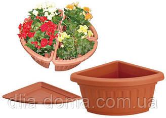 Горщик для квітів пластиковий кутовий, 35см,3012