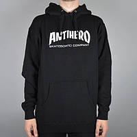 Худи Antihero Skateboards черное с белым логотипом, унисекс (мужское,женское,детское)