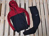 Зимний спортивный костюм на флисе мужской Nike (найк), красно-черный