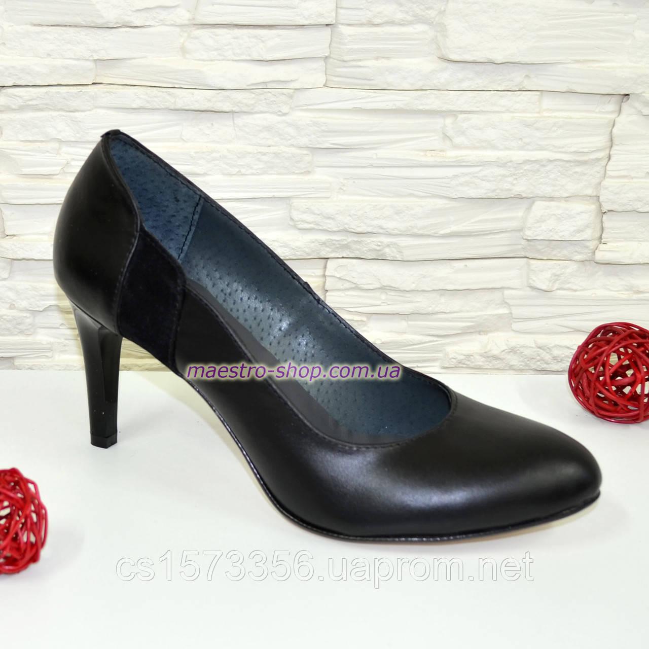 Туфли женские кожаные черные на шпильке