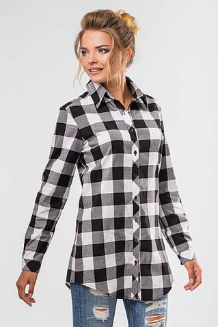 Удлиненная рубашка в черно-белую клетку