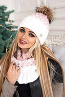 Зимний женский комплект «Вилена» (шапка и шарф-хомут) Белый+Пудра