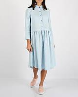 Блакитне лляне плаття з куліскою на талії, фото 1