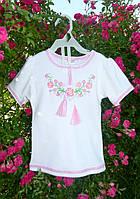 """Вышиванка для девочки """"Розовые фиалки"""" с коротким рукавом на рост 80-140 см (трикотаж), фото 1"""