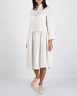 Біле лляне плаття з куліскою на талії, фото 1
