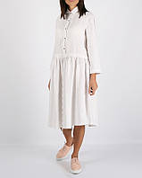 Белое льняное платье с кулиской на талии, фото 1