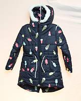 Зимняя удлинённая куртка для девочки, размеры в описании