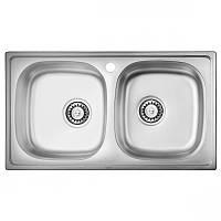 Кухонная мойка двойная стальная ULA 5104 ZS Micro Decor 08 (мойка 7843 нерж.)