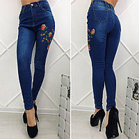 Женские стрейчевые джинсы с высокой посадкой и вышивкой Турция БАТАЛ, фото 1