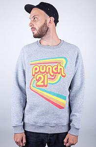 Мужской зимний серый свитшот Punch - 70s Vibes, Grey с начесом