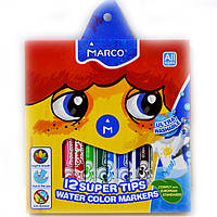 Фломастеры Marco 12 цветов Super Washable