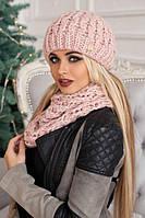 Зимний женский комплект «Эустома» (шапка и шарф-хомут) Пудра