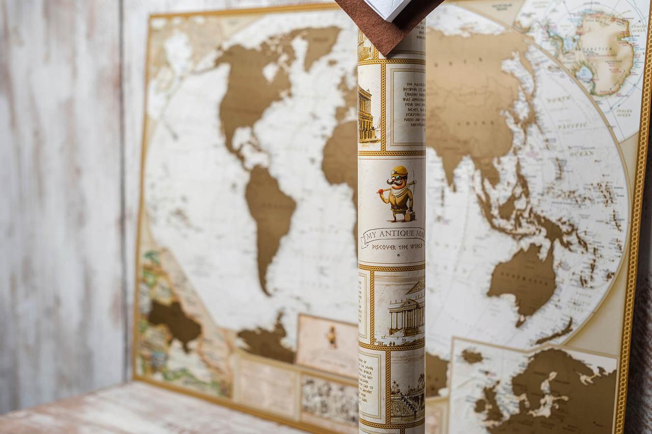 Скретч карта мира для путешественника Antique